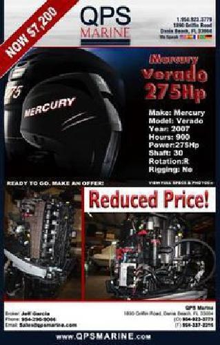 $7,200 Mercury Verado 275 Hp