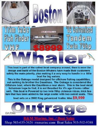 $8,999 OUTRAGE 18' Boston Whaler COOL