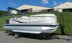 2008 SUN TRACKER 21 PARTY BARGE SIGNATURE WITH ONLY 186 HOURS AND MERCURY PRODUCT PROTECTION WARRANTY! A 60 hp Mercury 4-stroke EFI Bigfoot outboard with power trim powers this pontoon package. Features include: color coordinated bimini top, Jensen AM/FM