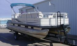 This is an outstanding buy on a 2006 Suntracker Party Barge 21 Signature series and Trailstar trailer 2009 model. The boat is outfitted with new Mercury 60 ELPT EFI 4 STROKE with a 2006 year of production. The boat is used unit and the motor and trailer