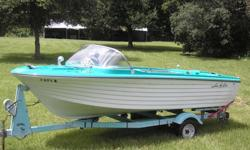 VS OMC in/out board motor2 cycle engine 4 cylinder 90 hpBoat was purchased in 1965 used gently,put in storage in 1967.The boat was in storage for 47years.Used on lakes & rivers (Pocono Mtn, PA)...never in salt waterLoaded w/extras. Just installed new