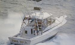 This 1994, well maintained, and canyon ready 33 foot Dawson Express fisherman is located in Scituate, Massachusetts. Set up for canyon fishing, this Dawson 33 is a fast, dry running, and durable fishing platform. FINS UP is powered by Cummins twin 300