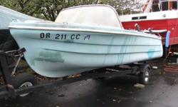 """13'-6"""" Boat. $100. All four seats swivel 360 deg. Do not know if the depth finder works or not. Motor remote speed and shift controls do not come with boat. Boat is very solid inside and out.1964 18 horsepower Johnson motor also available. $100118 psi"""