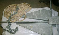 Anchor with 6 ft of chain with 25ft of rode.I pre-owned this as my second anchor. Larger enough for a 38 feet boat.No longer own vessel.Comparable new price $395 @ WEST MARINE.Call Bill @ 414.764.5145Listing originally posted at http