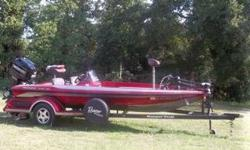 18ft Ranger bass boat with 150 Mercury outboard. Minnkota trolling motor, Hummingbird fish finder with built-in GPS and a Garmin fish finder. Flippin deck, custom match trailer, new trailer tires with spare, custom fit boat cover, and dual onboard battery