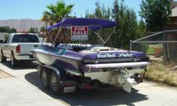 """206 MAGNUM, (21 FT) 454 BIG BLOCK NATURALLY ASPIRATED, LEGEND JET BLUEPRINTED BY GREG SHOEMAKER, NEW DUAL MARINE BATTERIES WITH ISOLATOR, HYDRAULIC """"PLACE"""" DIVERTER, NEW MATCHING PURPLE BIMINI TOP, 385 HOURS ON BOAT, 2ND OWNER, NEVER USED IN SALT WATER,"""