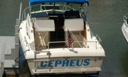 Classic 1986 ChrisCraft Catalina 25.5 Express Cruiser, Super Clean, Boat has been completely gone through, 350/270HP Crusader Inboard Repower with Electronic Ignition, low hours, Great fuel economy, 80 Gallons Fuel, 30 Gallons Freshwater, New Teak, New