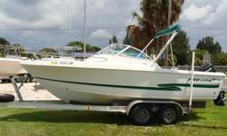 150 HP Mercury Saltwater Series just resealed lower unit, 4 speaker stereo, Garmin Chart GPS Combo,new bow cushions, new batteries 3 mos ago, bimini. Trailer available.