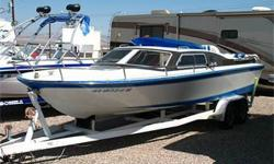 """Looking For A Classic? Great Old-School """"River"""" Looks! 330 HP Mercruiser 454, Closed Bow w/ Cabin (Seating & V-Berth), Bimini Top, Swim Steps, Ski/Tube Tow, Swiveling Captain?s Chair, Bow Sun Pad, Tandem Axle Trailer and Much More!"""