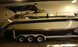 1989 25ft Carver Montego cabin cruiser on a triple axle trailer with a power winch. Very good condition with only one owner. Always kept in a heated building. Some years not even used. Sleeps 4 comfortably. has the followingGPSRadardown rigger and fish