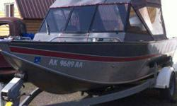 Smoker Craft Aluminum boat, 18 foot, open bow, with enclosure. Yamaha prop drive (spare prop) and new A6 jet unit (still in box) for 200 hp Yamaha motor. Custom diamond plate interior, custom oversize gas tank. Exceptionally good condition. Never been in