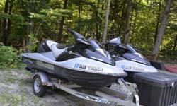 2-2005 GTX Seadoo 215 HP Supercharged Limited waverunners in excellent shape. Stored in basement for winter. 2 place trailer with storage box.Gray and Black...Both have 109 hours. Superchargers rebuilt at 100 hours, Buffed and new logos and feet pads, new