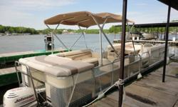 2004 Voyager Tri-Toon, 280 Express, Powered By A Johnson 115 H.P. Outboard, Stainless Steel Ski Tow Bar, All Safety Equipment Included, New Bimini Frame And Top. Located At Alhonna Resort - 8 Mile Marker.