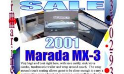 2001 Marada MX-3 Very nice well kept Marada, the name it's self depicts class and style and with a wide array of comfort.The cushions to this boat have been stored inside, in this overnight cuddy cabin. This boat is powered by a 5.0L engine, giving great