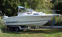 """23'4"""" overall length, 100 gallon fuel capacity, salt water wash down, transom door, swim ladder, Furuno color fishfinder, Furuno differential GPS, new VHF radio, sterio with Compact disc player, bimini top, 2 live wells, porta potty. Evinrude 200"""