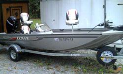 almost new condition with only 25 hrs. powered by 60 hp. 4 stroke mercury. side console, rod box and plenty of storage. karavan space saver trailer . factory fit canvas cover. trolling motor and depth finder.