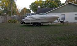 Maxum 24' fiberglass Power Boat w/ MerCruiser 5.7 engine,250hp, gasoline. Dual Batterieswith charger. Includes Dash console, gauges, bow seating with back rests, sink with faucet, transome shower, bilge pump manual and automatic,power trim, and many