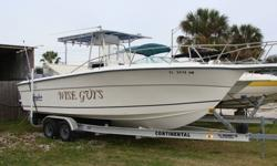 Twin Suzukis DT 200s fuel injected, Lewmar windlass, outriggers, Airmar P66 600st transducer, twin scan flow scans, Bennett trim tabs, VHF, AM/FM stereo, t-top with overhead electronics box, Ritchie compass, 2 tackle stations, super flush flush kits on