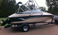 2002 Crownline ski boat with wakeboard tower. 19.5' long. The motor was purchased last year and has less than 60 hours on it. 2 new marine batteries purchased this year. 2 new boat trailer tires purchased this year. New can speakers on the wakeboard tower