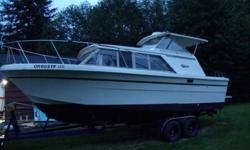 I have a 1980 26 foot Carver Monterey hard top with brand new V-8 engine and has a volvo penta 280 drive. I have all the receipts. Boat has a nice spacious cabin with pressurized water system, electric flush toilet, shower, hot water heater, new batteries