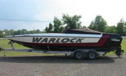 For sale is a 1989 28 feet Warlock.It has a 454 engine with a bravo 1 outdrive.New steering cable just installed.Not sure of hours on engine as it doesn't have an hour meter installed.Boat is in attractive condition and runs great as well.EZ loader