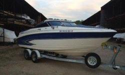 1998 Glastron Bowrider , in very good shape deep v hull this is a big bowrider, has a 5.7 Volvo Penta motor with aVolvo Duo-prop Out drive, Stainless Steel Props always a fresh water boat. This boat has mooring covers and a full bimini with a full