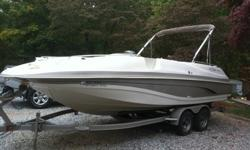 You are looking at a 2001 Tracker Marine Tahoe 220 22' Deck Boat with a 5.7L Mercruiser I/O with power steering. The boat has 175 hours on it and is in good condition and still has the snap in carpet ( used very little), a brand new captains chair (not