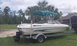 2003 19 FT Glastron SX195 boatand trailer. Bow Rider seats 8 adults. All fiberglass (No wood to rot.) 4.3L, 262 CID, V6, 190hp Mercruiser inboard/outboard engine with Thunderbolt V ingnition. 201.7 hours on engine. Great on gas.. Rebuilt carburetor and