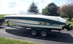 1997 Sea Ray Signature 230 Bow Rider, Very Good Condition, no rips or tears in seats, 5.7L, Alpha 1 Outdrive, 200 hours, AM/FM/CD, Bimini Top, Lots of storage, Depth Finder, Dual Batteries, Snap in Carpet, Rated for 10 people, Cover, Tandem trailer with