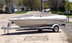 Selling our 2000 Regal. We have outgrown the boat and need to go bigger. The Regal is 18 feet long and 8 feet wide. This bow rider can seat 8 people comfortably and still have enough power to get up and go. It has a 4.3L Mercruiser engine (190hp). It