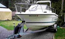 For sale or possible trade is a 1998 Bayliner Trophy with walkaround cuddey cabin. It is in excellent condition, powered by mercury 120 hp force outboard, 2 fish boxes, 1 live well, top, dual batteries with new cabelas battery charger maintain system,