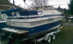 27ft Regal model 440 ,full galley,sleeps 4-6, dual 4.3 merc. cruisers,with 480 original hours, head,heater,fully Equipped, Perfect interior,with full enclosed canvas immaculate, two owners,full trailer, What a Christmas Present! 12,500.00 OBO Hurry won't