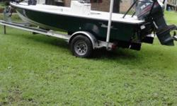 custom poling platform, undergunnel lights, multiple livewells , all pumps work and switches, sharkeye lights, pushpole, new waterpump, runs low 50s, alum trailer not been in saltwater since 2004, very , very pristine rig!no trades cash only price firm