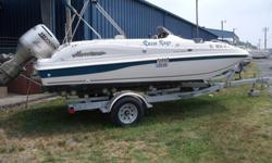 """2nd owner of 18"""" superb condition deckboat. Under 40 hrs on the motor"""