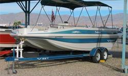 TriHull Deck Boat, 250 HP Mercruiser 5.7LX, Alpha One Drive, Drive Shower, Trim Tabs, Double Bimini Tops w/ Struts, 2 Swiveling Fishing Seats (Front or Rear), Large Integrated Rear Swim Platform w/ Ladder, Ski Tow, Walk Through Transom, Live Well, Front