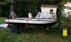 12' Fishing Boat includes Trailer and ExtrasNewly registered until 2017 and title available. Includes:*45lb Thrust Trolling motor*Fish finder*New seats*Deep cycle battery with case*Nightime lights*Trickle Charger*Boat CoverThis boat is ready for the