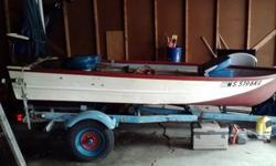 12ft rhino coated fishing boat $1000 firm! Brand new deep cycle rv battery 9.5 HP Johnson motor- starts right up Minnkota trolling motor- forward and reverse 2 new anchors Depth & fish finder 2 oars 3 seats 2 life jackets Fishing net Fish basket This boat