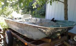 12' Tri-Hull Fiberglass Boat. Very stable design, has caught a lot of fish. Selling to make room for new boat. Does not leak a drop, comes with oars, electric motor, large industrial 12v battery (battery charges and holds charges excellent), pole holders,