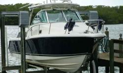 2008 Pursuit 285 Offshore This 2008 Pursuit OS 285 Offshore has been only lightly used and has just 50 hours on its twin Yamaha F-250 4-Strokes! The Pursuit Offshore series of walkaround fishing boats are renowned for their sturdy design, excellent use of