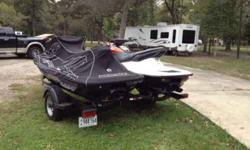2 Honda jet ski's and trailer with brand new tires. 1 jet ski has 92 hours and the other has 94!! In terrific condition, almost like new!! We are asking $13,000 OBO! Please call or text if you are interested 936-201-2997. Only interested buyers,