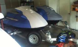 I have a set of 2008 Yamaha Wave Runners for sale both are on a Triton aluminum trailer, they have always been stored inside a conditioned garage.GP1300G 2 SEATER TWO STROKE COLLECTOR WITH COVER UNDER 50 HOURSVX1100B-GB DELUXE 3 SEATER FOUR STROKE WITH