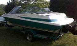A Very nice 21-foot, Maxum (model 2100) Bowrider in extremely good condition! The color of the boat is teal (a real pretty bluish green) and has a matching single axle trailer in very good condition with NEW Tires. (spare is also new) A Turn-the-key,
