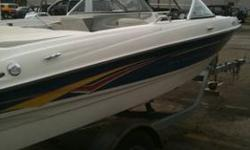 3.0 mercruiser 135hp Comes with tube, wake board, tow ropes, trolling motor, 3 adult life jackets other coast guard approved life jackets, trailer hitch cover, and boat cover...