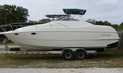 282 Crowne Model, Twin 5.7 Volvos with Cobra Drives, 1999 Trailer is available for sale, New upholstry, bimini and Carpet, Windlass. Will consider smaller center console in trade. 813-831-5694