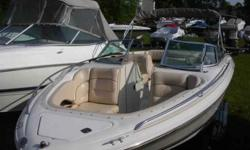 $13,995, MERCRUISER I/O 240HP ENGINE W/170 HOURS OF FRESHWATER USE, BOW AND COCKPIT COVERS, BIMINI TOP W/BOOT, RATED FOR ten PEOPLE, PORT AND STARBOARD BACK TO BACK LOUNGER SEATS, HI-LO AFT JUMP SEATS, HINGED MOTOR BOX W/SLIDE OUT TABLE, FIBERGLASS