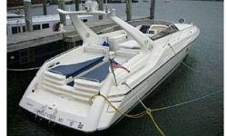 1st of all, this distinctive Sunseeker boat is in immaculate condition with just over 400 total hours on TRIPLE 502 MerCruiser Maguum EFI engines. These engines and the electronic engine controls were freshened by Mercury in 2002, 235 hours ago. Sunseeker