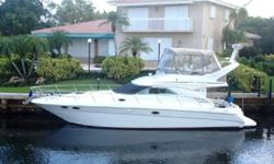 """This Sea Ray 400 Sedan is a two stateroom, two head, galley down, dinette up layout. The 14' 3"""" beam provides good stability and lots of interior volume. Caterpillar 3126TA diesel 340HP engines provide an economical 21K cruise. The bridge is easily"""