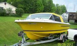 "Beautiful '73 Century Coronado. First year of the fiberglass model. Original 'Yellow' with tan interior. Very good condition inside & out. Solidly built. Sunroof. Length 22', beam 8', draft 26"", 3000# dry weight. 8 cylinder Chrysler 440, 300hp. Come with"