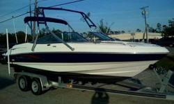 2004 Chaparral 210ssi inboard-outboard for sale. Engine is a 350 Mercruiser V8, 260hp. Boat has only about 80 hrs total use. Has swim platform, mahogany wheel, JBL 4 speaker stereo with front iPod plug, swiveling captain's chairs, walk-through windshield,