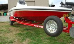2009 Nitro Z-5 MINT CONDITION used less than 10 times,90 Mercury,in dash lowrance fishfinder,foot control Minn Kota,fore and aft storage,aerated live well,custom trailer w/spare, 3 across seating,red and white w/ red trailer. This boat is in showroom